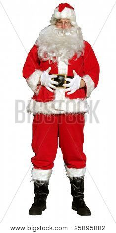 isolated santa stands with his hands on his tummy as if to say
