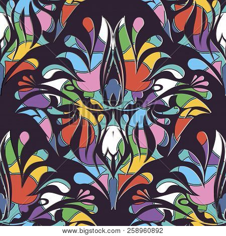 Colorful Paisley Vector Seamless Pattern. Abstract Ornamental Br