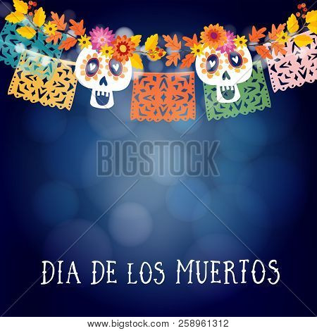 Dia De Los Muertos, Mexican Day Of The Dead Or Halloween Card, Invitation With Garland Of Lights, Sc