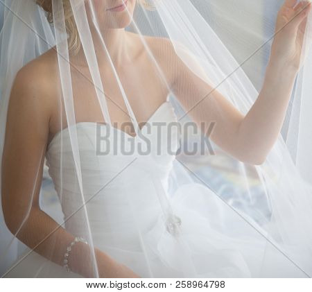 A Dreamy Soft Image Of A Bride Posing With Her Veil Prior To Her Wedding