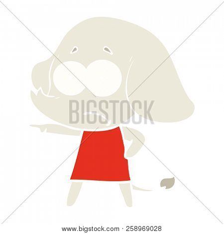 flat color style cartoon unsure elephant girl pointing