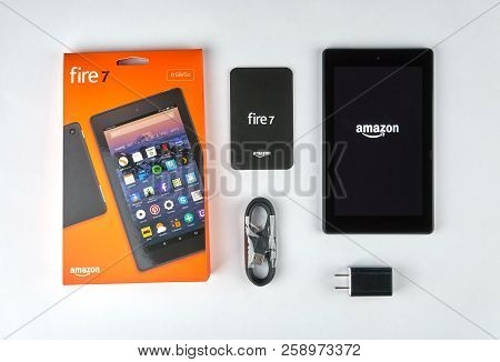 Montreal, Canada - September 8, 2018: Amazon Fire Tablet With Opened Box. The Fire Tablet Is A Table