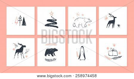 Vector Collection Of Christmas Cards And Gift Tags Isolated On Light Background. Emblems For Xmas Ho