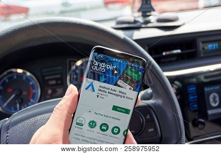 Montreal, Canada - July 15, 2018: Google Android Auto Application On A Cell Phone. Android Auto Is A