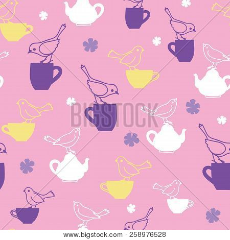Pink Birds And Teapots Vector Repeat Pattern. Great For Cafe And Teahouse Wallpaper, Backgrounds, In