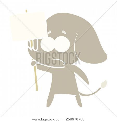 flat color style cartoon unsure elephant with protest sign