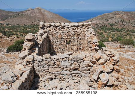 The ruins of the abandoned village of Mikro Chorio on the Greek island of Tilos.