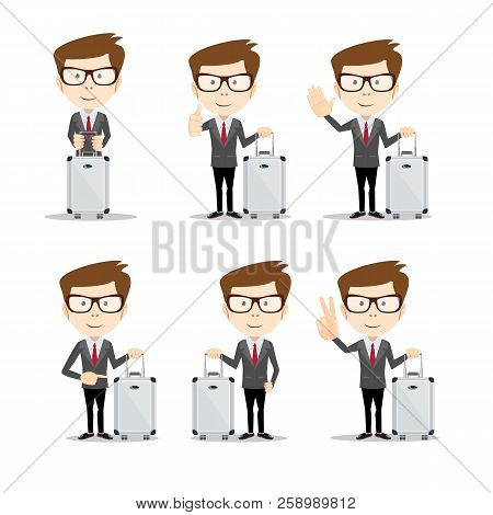 Set Of Businessman In Different Poses With A Suitcase . Full Length, Front View Against White Backgr