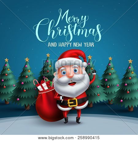 Santa Claus Vector Character Carrying Bag Of Christmas Gifts With Merry Christmas Text Greeting And
