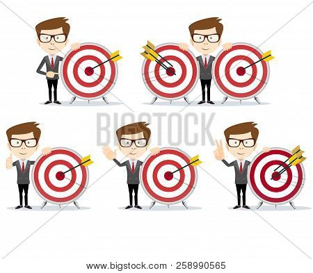 Set Of Businessman In Different Poses With A Dart Board With A Direct Hit On Target . Full Length, F