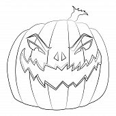 Coloring page for kids with Halloween evil pumpkin poster