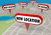 New Location Moving Relocate Moved Map Pins 3d Illustration poster