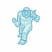 Mono line illustration of the Yeti or Abominable Snowman, in the folklore of Nepal, an ape-like entity, pointing towards you viewed from front done in monoline style. poster