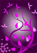A japanese stylized abstract  floral background illustration in shades of purple and magenta poster