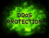 Ddos Protection Denial Of Service Security 2d Illustration Shows Malware And Intruder Risk On System Or Web poster