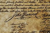 The Declaration of Independence of the United States of America. John Hancock's signature. poster