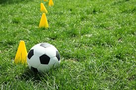 Soccer Ball On A Background Of Green Grass Near The Chips