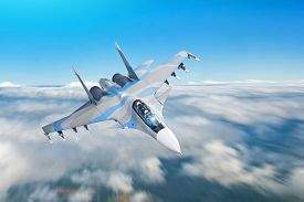 Combat Fighter Jet On A Military Mission With Weapons - Rockets, Bombs, Weapons On Wings Flies Motio