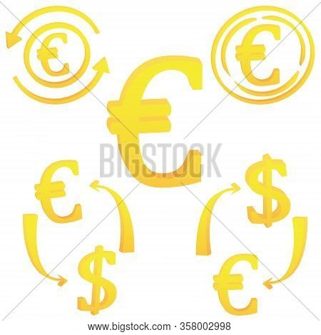 Euro European Currency Symbol Icon Vector Illustration On A White Background