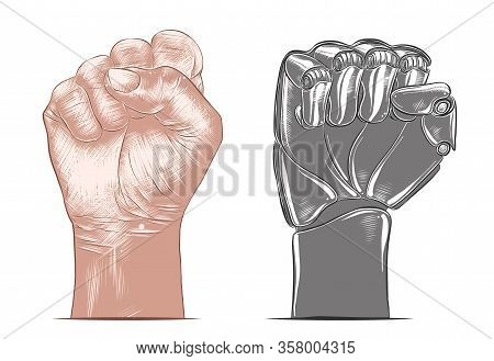 Vector Engraved Style Illustration For Posters, Decoration And Print. Hand Drawn Sketch Of Human And
