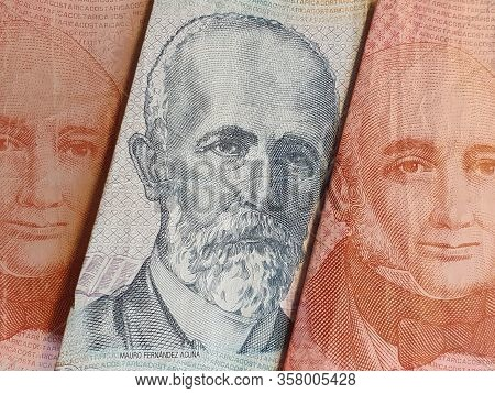 Approach To Costa Rican Banknotes Of Different Denominations, Background And Texture