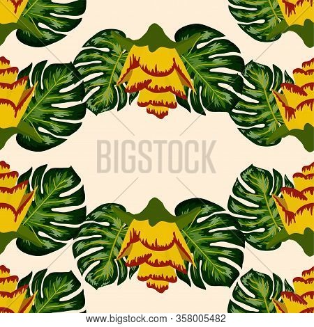 Summer Seamless Tropical Pattern With Bright Yellow And Pink Plants And Leaves. Beautiful Print With