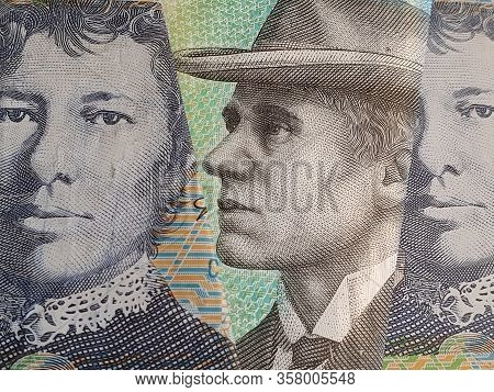 Approach To Australian Banknotes Of Ten Dollars, Background And Texture