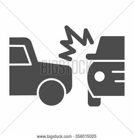 Two Automobile Road Crash Solid Icon. Frontal Or Side Driving Collision Symbol, Glyph Style Pictogra
