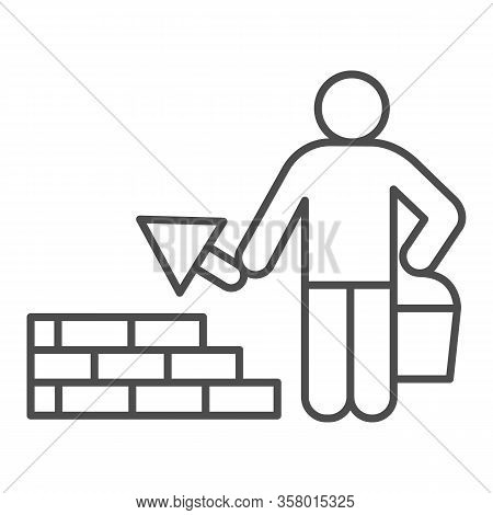 Builder With Trowel Thin Line Icon. Worker Man Build Brick Masonry Wall Symbol, Outline Style Pictog