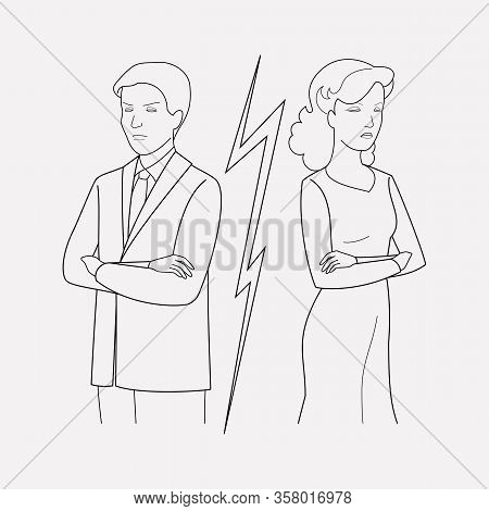 Conflict Icon Line Element. Illustration Of Conflict Icon Line Isolated On Clean Background For Your
