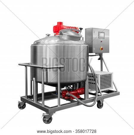 Industrial  Mixer In Food Industry, Production Line In Food Factory Line Conveyor Machine Isolated O