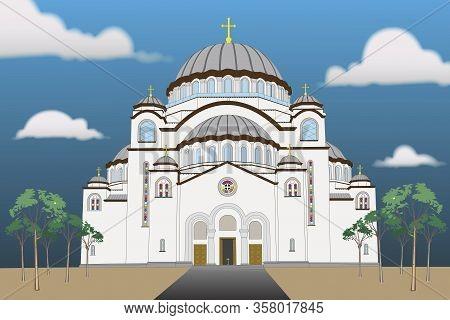 Illustration Of The Saint Sava Temple In Serbia Belgrade On Vracar