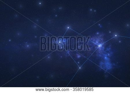 Crater Constellation In Outer Space. Crater Stars On The Night Sky. Elements Of This Image Were Furn