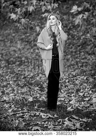 Woman Walk Sunset Light. Clothing For Every Day. Girl Adorable Blonde Posing In Warm And Cozy Outfit