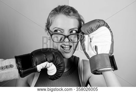 Strong Punch. Hand In Boxing Glove Punching Female Face. Painful Punch. Teeth Pain Concept. Defensel
