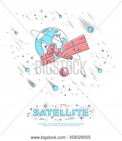 Communication Satellite Flying Orbital Spaceflight Around Earth, Spacecraft Space Station With Solar