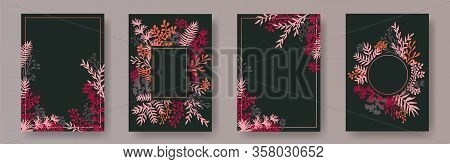 Tropical Herb Twigs, Tree Branches, Leaves Floral Invitation Cards Templates. Herbal Corners Vintage