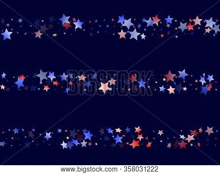 American Patriot Day Stars Background. Holiday Confetti In Us Flag Colors For Patriot Day.  Navy Red