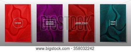 Curve Topography Lines Imitation Creative Vector Covers Set. Geography Magazine Front Pages Abstract