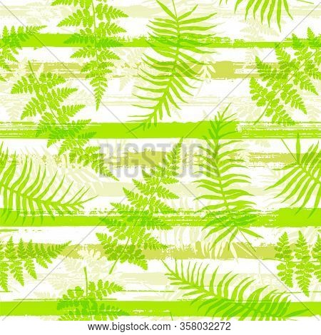 Trendy New Zealand Fern Frond And Bracken Grass Over Painted Stripes Seamless Pattern Design. Bali J