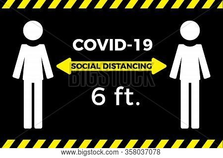 Coronavirus Covid-19 Virus Social Distancing Concept. Stay Six Feet Apart. Flat Icon Vector Illustra