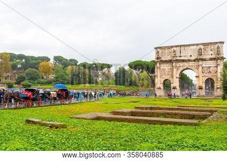 Rome, Italy. The Arch Of Constantine. Popular Landmark Tourist Attraction In The Roman/ Italian City