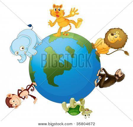 illustration of various animals on earth globe on white