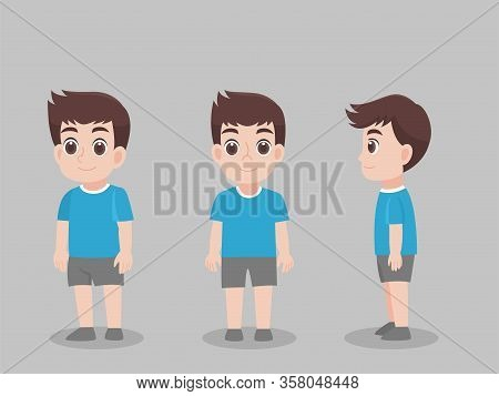 Set Of Character Children Boy Cartoon Concept Character Pose Front Side Turn Around For Character An