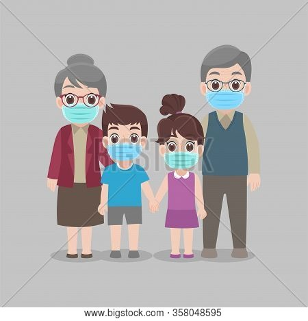Family Stay Home Stay Safe Together At Home, Social Distancing, People Keeping Distance For Decrease