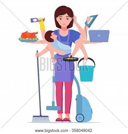 Busy Mom. Vector Illustration Cartoon Character Super Multitask Woman Mother Doing Housework. Busy M