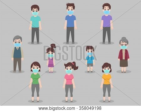 Social Distancing, People Keeping Distance For Infection Risk And Disease, Wearing A Surgical Protec