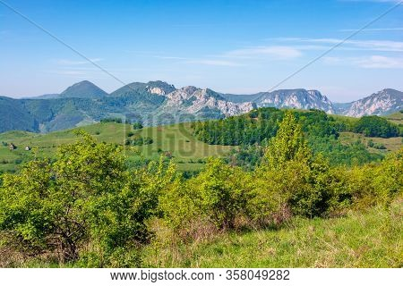 Gorges And Mountains Of Romanian Countryside. Beautiful Rural Landscape Of Valea Manastirii In Alba