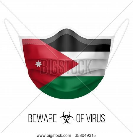 Medical Mask With National Flag Of Jordan As Icon On White. Protective Mask Virus And Flu. Surgery C