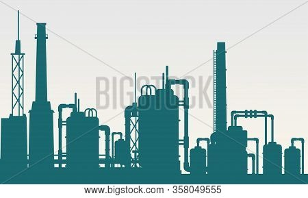 Vector Illustration Of Industrial Processing Factory Building. Suitable For Design Elements Of The P